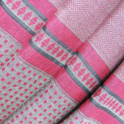 Woven scarf Croix-Rousse midi pink & celadon chevrons & grid made in lyon by sophie guyot silks