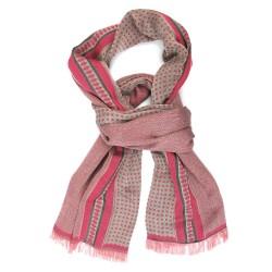 Écharpe tissée Croix-Rousse midi rose & céladon chevrons & grilles fabriqué à lyon, france, sophie guyot soieries