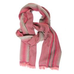 Écharpe tissée Croix-Rousse midi rose & céladon pois & losanges fabriqué à lyon, france, sophie guyot soieries