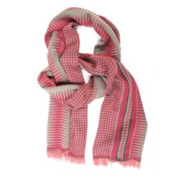 Woven scarf Croix-Rousse midi pink & celadon dots & diamonds made in lyon by sophie guyot silks