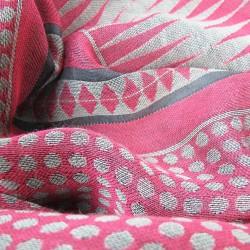 Woven scarf Croix-Rousse midi pink & celadon dots & diamonds made in lyon by sophie guyot silks