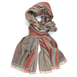Woven scarf Croix-Rousse maxi multico & rope colours  made in lyon, france, sophie guyot silks