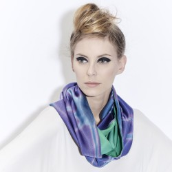 Snood Ottoïtapla 020 scarf with geometric patterns in silk ottoman tie and dye by itajime