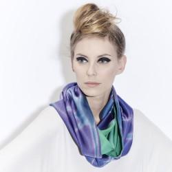 Snood Ottoïtapla scarf with geometric patterns in silk ottoman tie and dye by itajime
