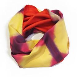 Snood Ottoïtapla 012 scarf with geometric patterns in silk ottoman tie and dye by itajime