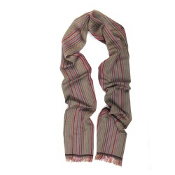 Woven scarf Croix-Rousse mini multico & burgundy colours  herringbones pattern made in lyon, france, sophie guyot silks