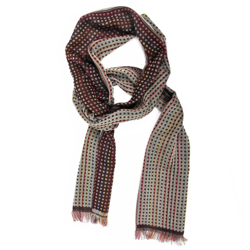Woven scarf Croix-Rousse mini multico & burgundy colours grid patterns made in lyon, france, sophie guyot silks