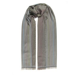 Woven scarf pop circuit silk & wool midi size cobblestone and multicolor, made in Lyon France by sophie guyot silks