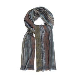 Woven scarf pop circuit silk & wool midi size steel and multicolor, made in Lyon France by sophie guyot silks