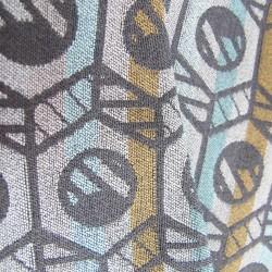 Woven scarf pop circuit silk & wool mini size made in Lyon France by sophie guyot silks