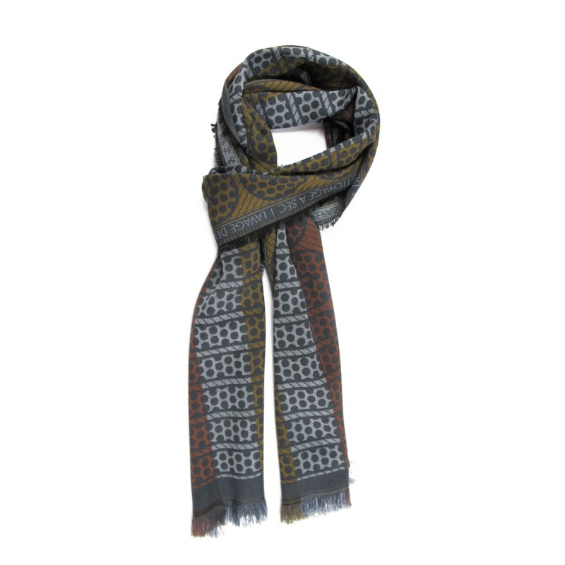 Woven scarf pop circuit silk & wool mini size made in Lyon France by sophie guyot silks