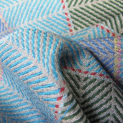 Narrow woven scarf in silk and wool made in Lyon by sophie Guyot silks