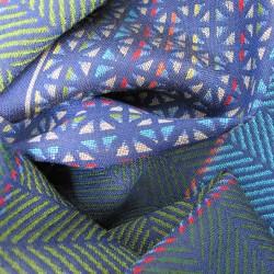 Écharpe midi, macro micro, tissage jacquard, multicolore en soie et laine, fabriqué à Lyon, France par sophie guyot soieries