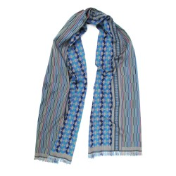 Midi scarf, macro micro, silk & wool, multicolor, made in Lyon France by sophie guyot silks