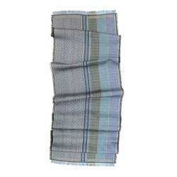 Midi scarf, macro micro, silk & wool, multicolor, made in Lyon France by sophie guyot silks