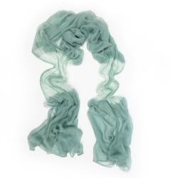 Écharpe longue plissée extramousse bicolore en mousseline de soie par sophie guyot soieries lyon france