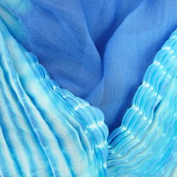 Long pleated two-tone extramousse scarf in silk chiffon by sophie guyot silks lyon france