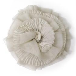 Bibi paplillon plissé bicolore en organza de soie plissé, teint et fabriqué à Lyon en France par Sophie Guyot Soieries