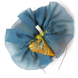 Multicolor pleated BIBI paplillon in silk organza, made in Lyon, France by Sophie Guyot Soieries from a shibori technique