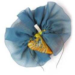 Bibi paplillon multiicolore en organza de soie plissé, teint et fabriqué à Lyon en France par Sophie Guyot Soieries