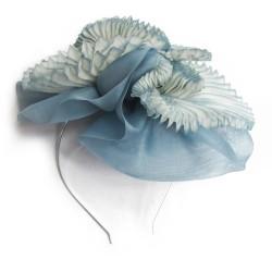 Bibi paplillon bicolore en organza de soie plissé, teint et fabriqué à Lyon en France par Sophie Guyot Soieries