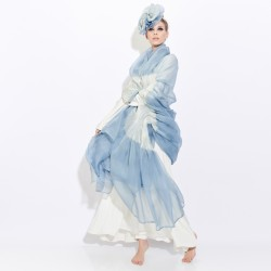 Cape stole paplibulle two-tone 002, pleated silk organza by sophie guyot silks made in Lyon France
