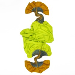 Scarf plissenpli midi 075 multicolored in silk twill pleated and dyed by sophie guyot soieries, Lyon, France