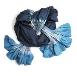 Étole plissenpli maxi multicolore 007 en twill de soie plissé et teint, fabriqué à lyon france sophie guyot soieries