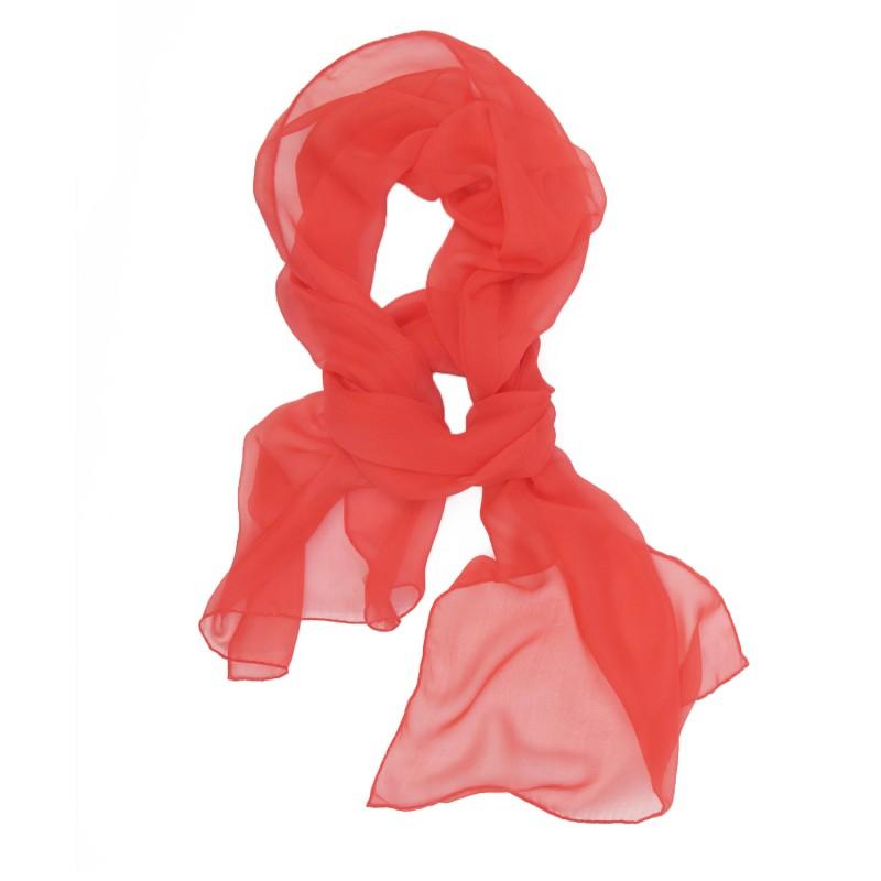 Scarf 180 plain, silk chiffon, rolled finish by sophie guyot silks in lyon france