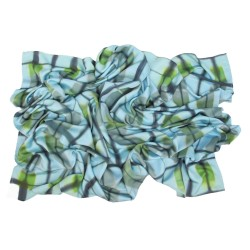 Giant square scarf 140 in silk ottoman, multicolor, with geometric patterns made by itajime.
