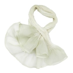 Short scarf paplillon two-tone 068 in pleated silk organza, dyed and made by sophie guyot silks in Lyon France