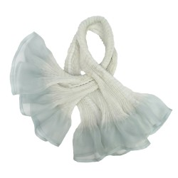 Short scarf paplillon two-tone 036 in pleated silk organza, dyed and made by sophie guyot silks in Lyon France