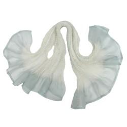 Écharpe courte paplillon bicolore 036 en organza de soie plissé, teint et fabriqué à Lyon en France par Sophie Guyot Soieries