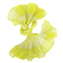 Short scarf paplillon two-tone 033 in pleated silk organza, dyed and made by sophie guyot silks in Lyon France