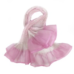 Short scarf paplillon two-tone 040 in pleated silk organza, dyed and made by sophie guyot silks in Lyon France
