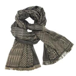 Maxiécharpe, tissage jacquard, en soie et coton, fabriqué à Lyon, France par sophie guyot soieries