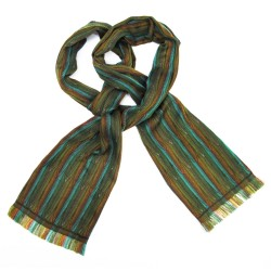 Narrow woven scarf, silk and cotton, made in Lyon France by sophie guyot silks