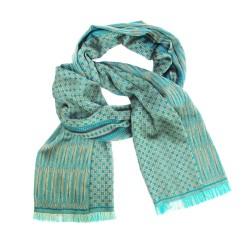 Écharpe midi, tissage jacquard, en soie et coton, fabriqué à Lyon, France par sophie guyot soieries créateur mode et accessoire