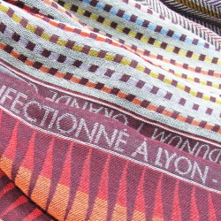 Woven scarf Croix-Rousse maxi multico & burgundy colours  made in lyon, france, sophie guyot silks