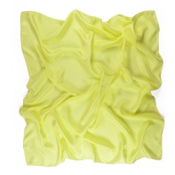 Square 90 plain yellow in silk twill, rolled machine by sophie guyot silks in Lyon.
