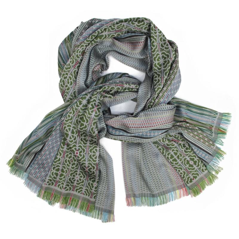 Écharpe tissée soie laine maxi multicolore fabriqué à lyon france, sophie guyot soieries créatrice mode et accessoire