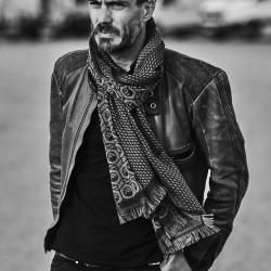 Midi woven scarf silk wool made in Lyon France sophie guyot silks lyon france