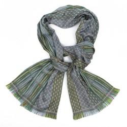 Écharpe format midi tissage jacquard soie laine parc de la tête d'or fabriqué à Lyon, France par sophie guyot soieries