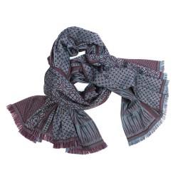 Maxiécharpe, tissage jacquard en soie et laine, fabriqué à Lyon, France par sophie guyot soieries