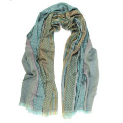 Maxi woven scarf silk cotton made in Lyon France by sophie guyot silks creative studio fashion and accessory