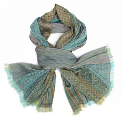 Maxiécharpe tissage jacquard soie coton, fabriqué à Lyon France par sophie guyot soieries studio de création accessoire et mode