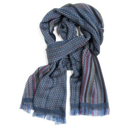 Woven scarf midi multicolor blue pop circuit grid hoses silk cotton made in lyon france