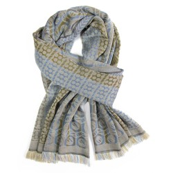Woven scarf midi multicolor corda pop circuit grid hoses silk cotton made in lyon france