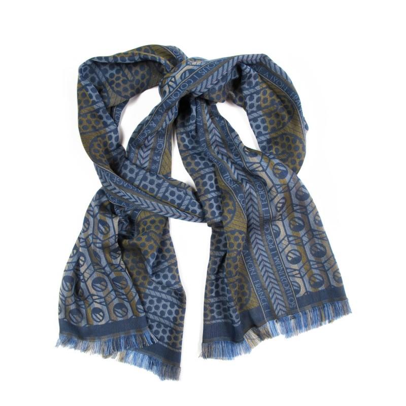 Woven scarf midi multicolor blue pop circuit grid hoses silk cotton made in lyon france