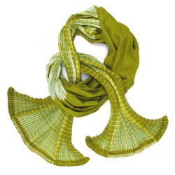 long pleated scarf twill wool silk pliplapli made in lyon france sophie guyot silks accessories and textile design